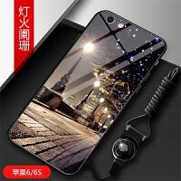 苹果6/6s手机壳iPhone 7/8保护套个性创意钢化玻璃镜面6plus/6splus男女情侣款i