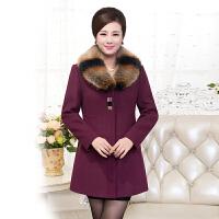 冬季女士中长款毛呢外套妈妈装加肥加大码中老年韩版毛领呢子大衣