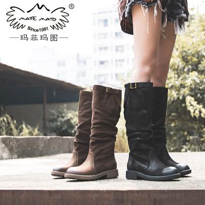 玛菲玛图秋冬女鞋靴子女2017新款真皮高筒靴女粗跟中跟防水台皮带扣马丁靴5751B-22尾品汇 付款后3-5个工作日发货