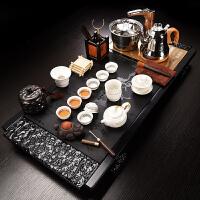家用乌金石一体组合实木檀木茶盘 石材石头茶具套装 茶台带电磁炉 21件