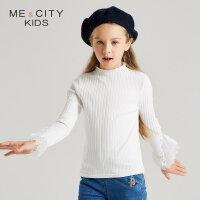 【1件3折到手价:68.7】米喜迪mecity童装女童秋装新款T恤蕾丝长袖儿童T恤