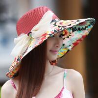 帽子女士韩版潮可折叠夏天草帽太阳帽防紫外线遮阳帽沙滩帽防晒帽