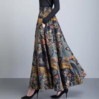 春季女半身裙秋棉麻半身长裙亚麻大码大摆花色显瘦高腰中长款裙子