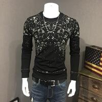 欧洲站男士长袖T恤 2017秋季新款个性印花打底衫修身潮男大码男装 黑色
