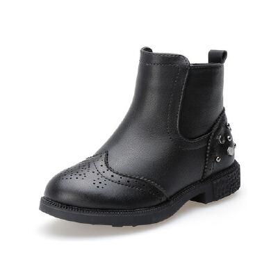 比比我童鞋冬季2017新款女童靴子加绒宝宝铆钉短靴公主保暖棉鞋