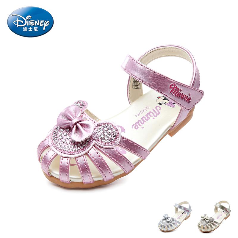 【99元任选2双】迪士尼Disney童鞋新款夏季女童闪钻时装凉鞋中童可爱米妮儿童公主鞋学生鞋 (5-10岁可选)  DS2340 【开学季:限时99元2双】