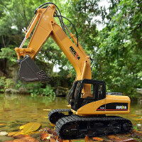 遥控挖掘机玩具 无线工程车可充电合金挖机钩机儿童玩具车挖土机 2.4G 15通道合金挖掘机
