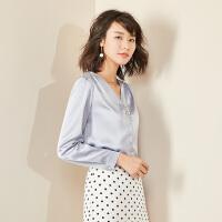 【女王节 活动价:88元】梵希蔓雪纺上衣女长袖2019春夏新洋气小衫韩版气质V领衬衫