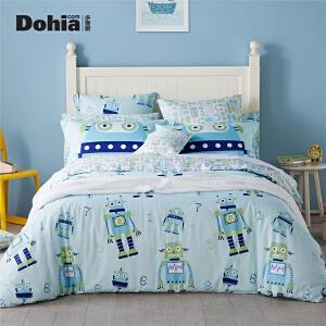 多喜爱全棉三/四件套卡通机器人床上用品套件床单被套奇妙世界