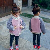 1-6岁女童装秋冬装羊羔绒加绒卫衣双层加厚棒球服外套薄棉衣