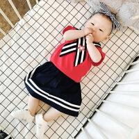 婴儿衣服夏季女童韩版海军领樱桃系带上衣裙子两件套宝宝套装