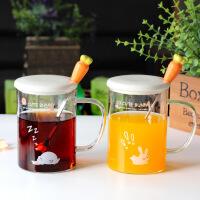 新款胡萝卜兔子玻璃杯可爱卡通带盖勺水杯创意高硼硅玻璃茶杯