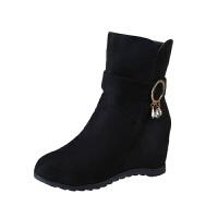 女靴子2018秋冬季新款平底内增高磨砂短靴坡跟短筒软底