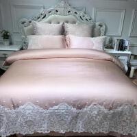 欧式简约蕾丝花边长绒棉提花四件套 法式公主风婚庆床上用品