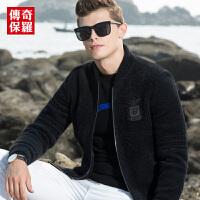 传奇保罗仿皮草外套男 2018冬季新款男士短款保暖棒球领夹克外套P18D004