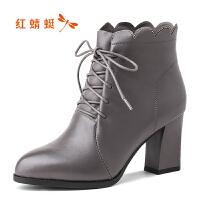 红蜻蜓短靴女冬季新款时尚水钻波浪高跟靴系带马丁靴棉鞋