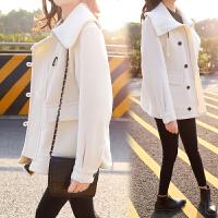 2018春�b新款女�b�n版毛呢外套短款白色��松呢子大衣外套女潮 米白色