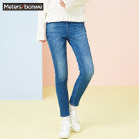 【1件4折到手价:74】美特斯邦威牛仔裤女春装新款时尚韩版百搭牛仔长裤商场款