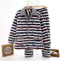 三层加厚珊瑚绒夹棉睡衣男士冬天加绒棉衣中年爸爸中老年老人套装1