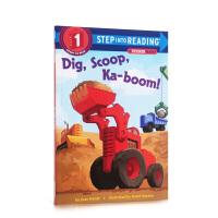 【全店300减110】英文原版 Dig, Scoop, Ka-boom 挖土机轰隆隆 儿童英语启蒙认知图画书 亲子互动阅