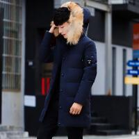 男士棉衣中长款冬季新款连帽厚款保暖棉袄韩版修身衣服潮外套