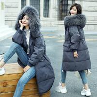 高仿大毛领羽绒棉服女装中长款2018冬装新款韩版加厚棉衣棉袄外套