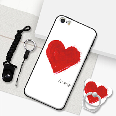 iphone5手机壳ip5se苹果5情侣iphone5S创意防摔5s硅胶软壳4寸小屏 送挂绳+同款指环支架