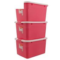 储物箱大号收纳盒3个装塑料整理箱衣物收纳箱儿童玩具