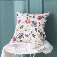 ???美式田园风格花卉抱枕棉麻沙发靠枕套大靠垫套子不含芯正方形