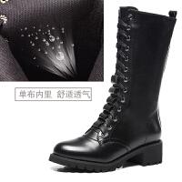 马丁靴女英伦风真皮中筒系带粗跟厚底长秋冬韩版学生加绒短靴