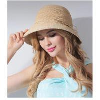 清新优雅沙滩帽拉菲草帽帽子女手工编织草帽大帽沿遮阳防晒帽太阳帽