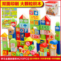 木制积木婴儿童一岁半宝宝男孩1-2-3-6周岁4-7益智早教女孩子玩具 100粒大号学习积木+60片双面底板+50片实