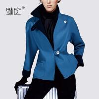 【新年狂欢到手价:425.5】魅斑秋冬外套女短款收腰一颗粒羊毛呢外套女小西装气质呢子短外套