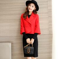 红色敬酒服新娘新款秋冬季结婚晚礼服女短款优雅修身显瘦毛呢外套 红色