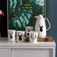 水杯套装 陶瓷水杯水壶家用田园风凉水壶组合客厅杯子杯具茶具冷水壶简约北欧式茶壶套装