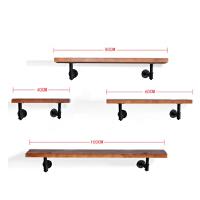 一字隔板墙壁置物架实木搁板水管置物架壁挂装饰花架铁艺墙上书架 套餐(三通款组合)宽20cm厚2cm 长40*60