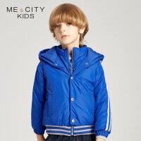 【1件3折叠券约:143.8,12日0点】米喜迪mecity童装冬新款男童双门襟假两件设计连帽棉服
