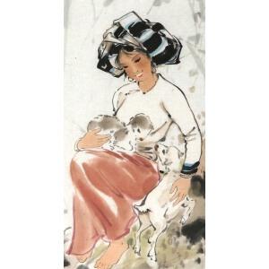 知名 画家  宋吟可 《人物 。羊 》57*38cm,纸本软片,品如图。