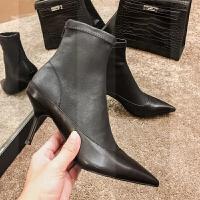 2018秋冬新款弹力短靴女瘦瘦靴细跟高跟尖头马丁踝靴袜靴裸靴子女SN6254