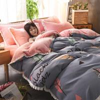 冬季加厚法莱绒四件套珊瑚绒法兰绒床单床笠双面被套加绒床上用品