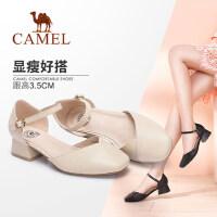 Camel/骆驼女鞋 2018春季新款 复古方头粗跟单鞋简约纯色浅口中跟鞋女