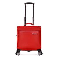 18寸行李箱万向轮女士行李箱空姐手提登机箱旅行箱男士小皮箱 大红色 皮质面料