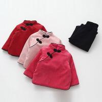 女童冬套装民族风加棉加厚保暖男童宝宝上衣阔腿裤两件套新年装