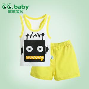 歌歌宝贝 夏季宝宝新款套装 婴幼儿背心短裤套装 背心印花套装外出服