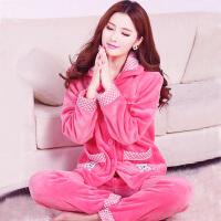 冬季珊瑚绒睡衣韩版卡通女士加厚法兰绒家居服宽松套装长袖开衫