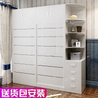 衣柜推拉门简约现代组装实木质2门柜子卧室移门整体大衣橱3门o4t