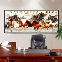 马到成功字画八骏图挂画中式客厅沙发背景墙办公室装饰画国画壁画SN3615 50*120 黑色框【3.5厘米厚度】 独立