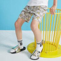 【1件2.5折叠券约:29.8,6月5日仅此一天】moomoo童装男童裤子2019新款夏薄款印花洋气潮中大儿童针织短裤