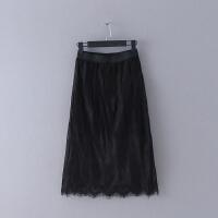 H087 女装 春季新款纯色修身松紧腰气质蕾丝裙半身裙中长裙子