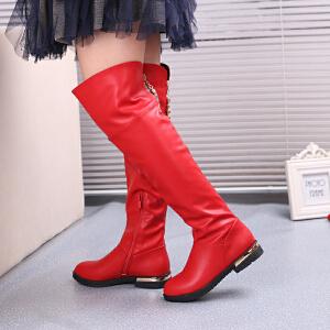 小皇鸟 2017秋冬新款童靴 女童过膝靴 童雪地靴棉靴 潮流侧拉链长靴